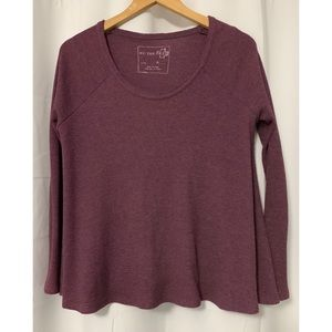 Free People Wine Solid Thermal Oversized Sz Small